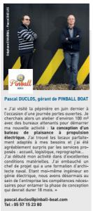 Article Pinball pépinière d'entreprises COBAS