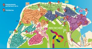 Carte localisation déchèteries et emplacements bornes à verre Arcachon
