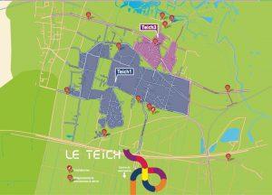 Carte localisation déchèteries et emplacements des bornes à verre au Teich