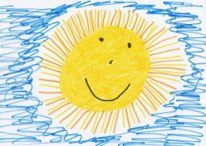 Dessin enfant soleil avec ciel bleu